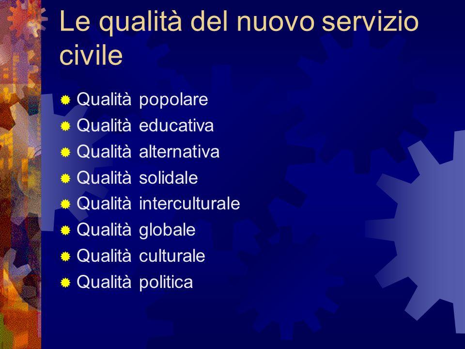 Le qualità del nuovo servizio civile Qualità popolare Qualità educativa Qualità alternativa Qualità solidale Qualità interculturale Qualità globale Qualità culturale Qualità politica