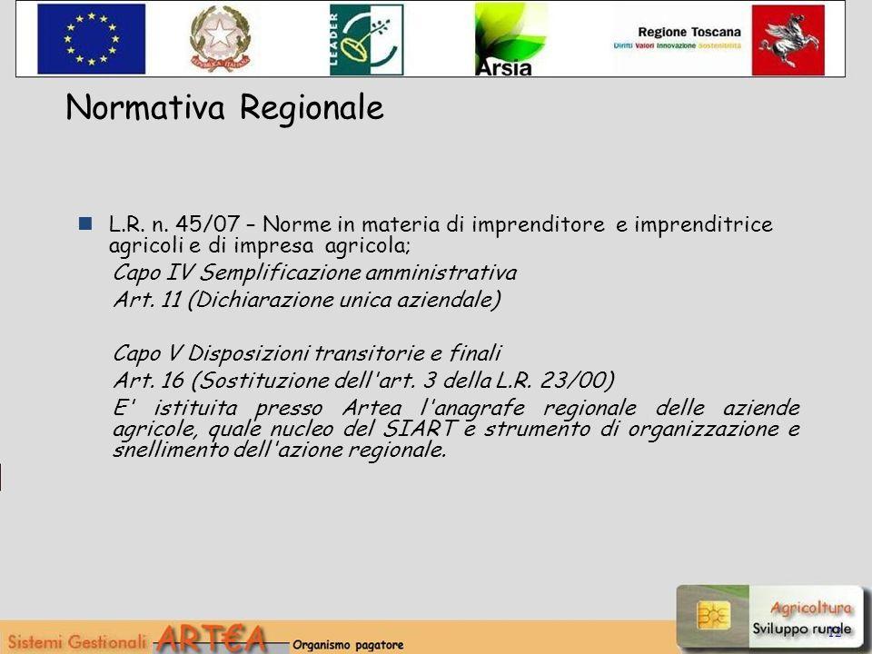 12 Normativa Regionale L.R. n. 45/07 – Norme in materia di imprenditore e imprenditrice agricoli e di impresa agricola; Capo IV Semplificazione ammini
