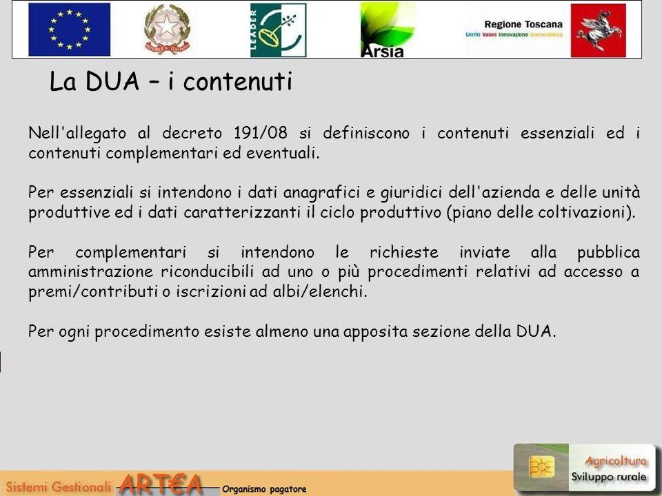 Nell'allegato al decreto 191/08 si definiscono i contenuti essenziali ed i contenuti complementari ed eventuali. Per essenziali si intendono i dati an