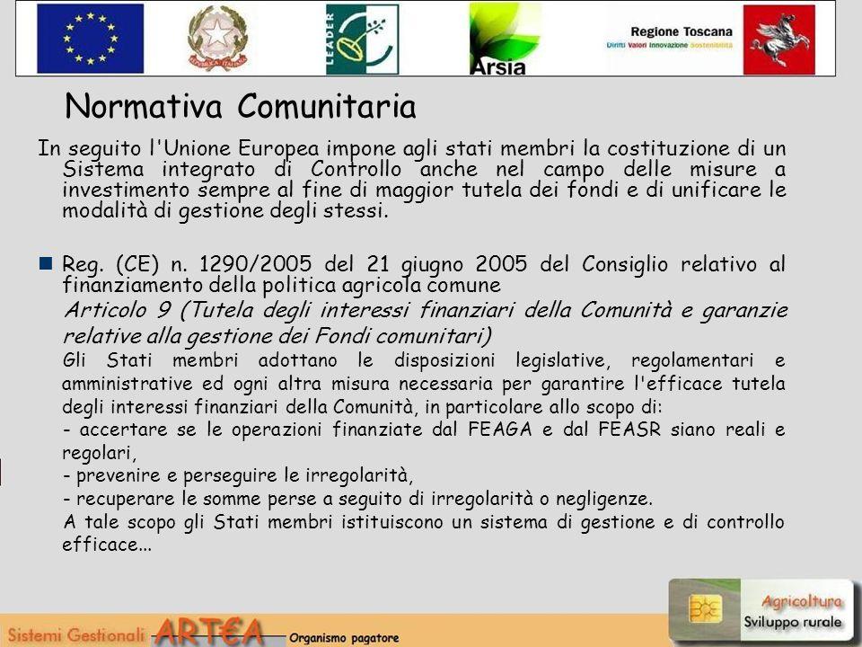 Normativa Comunitaria In seguito l'Unione Europea impone agli stati membri la costituzione di un Sistema integrato di Controllo anche nel campo delle