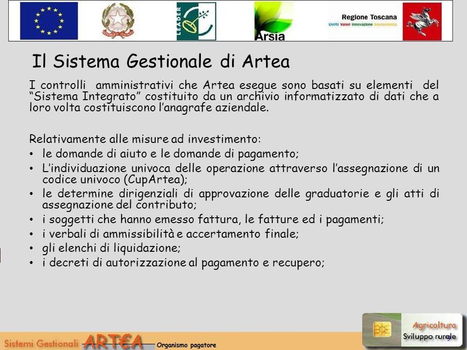 9 I controlli amministrativi che Artea esegue sono basati su elementi del Sistema Integrato costituito da un archivio informatizzato di dati che a lor