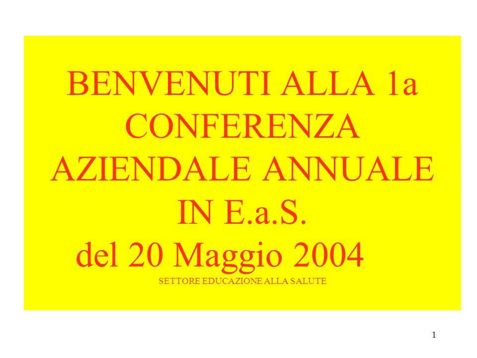 1 BENVENUTI ALLA 1a CONFERENZA AZIENDALE ANNUALE IN E.a.S. del 20 Maggio 2004 SETTORE EDUCAZIONE ALLA SALUTE