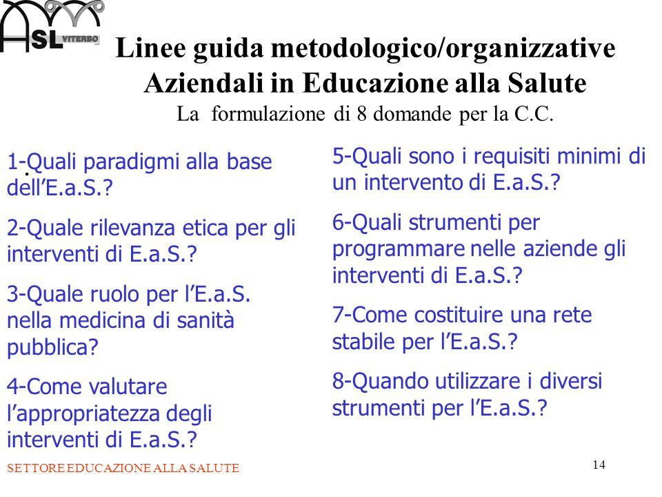 14 Linee guida metodologico/organizzative Aziendali in Educazione alla Salute La formulazione di 8 domande per la C.C.. 1-Quali paradigmi alla base de