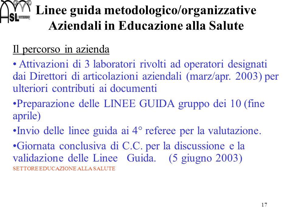 17 Linee guida metodologico/organizzative Aziendali in Educazione alla Salute. Il percorso in azienda Attivazioni di 3 laboratori rivolti ad operatori
