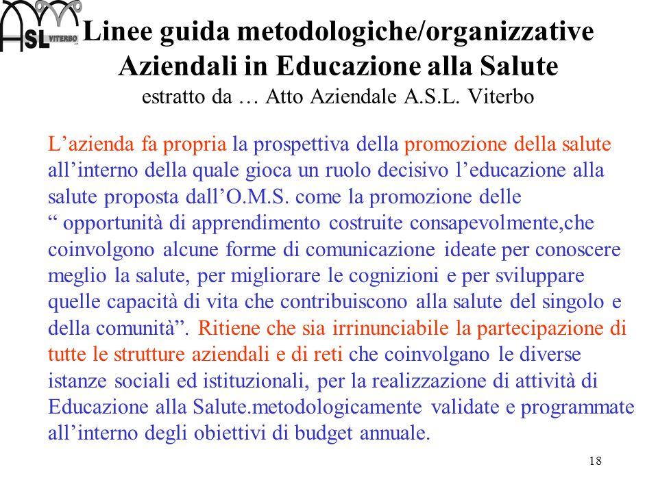 18 Linee guida metodologiche/organizzative Aziendali in Educazione alla Salute estratto da … Atto Aziendale A.S.L. Viterbo Lazienda fa propria la pros