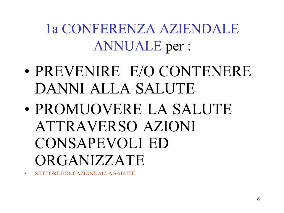 6 1a CONFERENZA AZIENDALE ANNUALE per : PREVENIRE E/O CONTENERE DANNI ALLA SALUTE PROMUOVERE LA SALUTE ATTRAVERSO AZIONI CONSAPEVOLI ED ORGANIZZATE SE