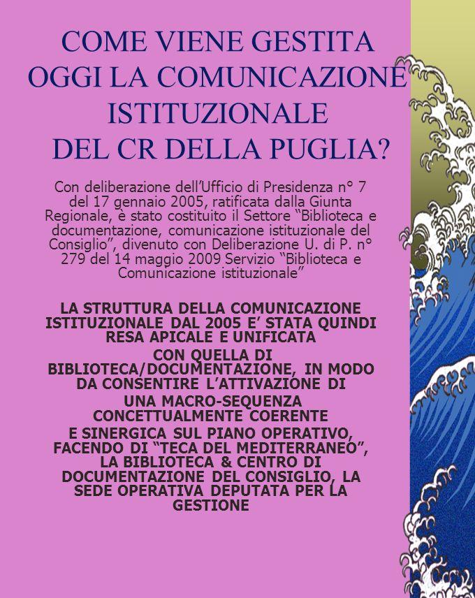 IL VISSUTO DELLA COMUNICAZIONE ISTITUZIONALE NEL CR DELLA PUGLIA Nel 2000 l Ufficio di Presidenza del CR della Puglia ha approvato il primo piano di c