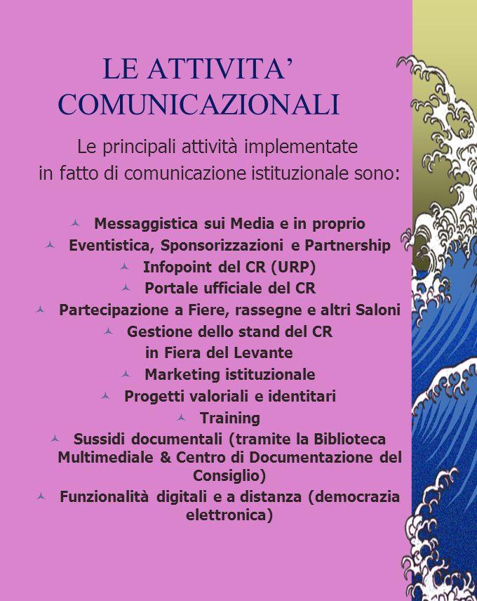 COMUNICAZIONE VALORIALE I referti della comunicazione istituzionale del CR della Puglia attribuiscono particolare importanza strategica ai valori cont