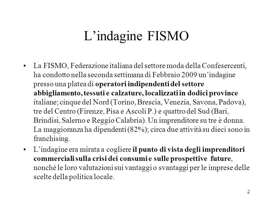 2 Lindagine FISMO La FISMO, Federazione italiana del settore moda della Confesercenti, ha condotto nella seconda settimana di Febbraio 2009 unindagine