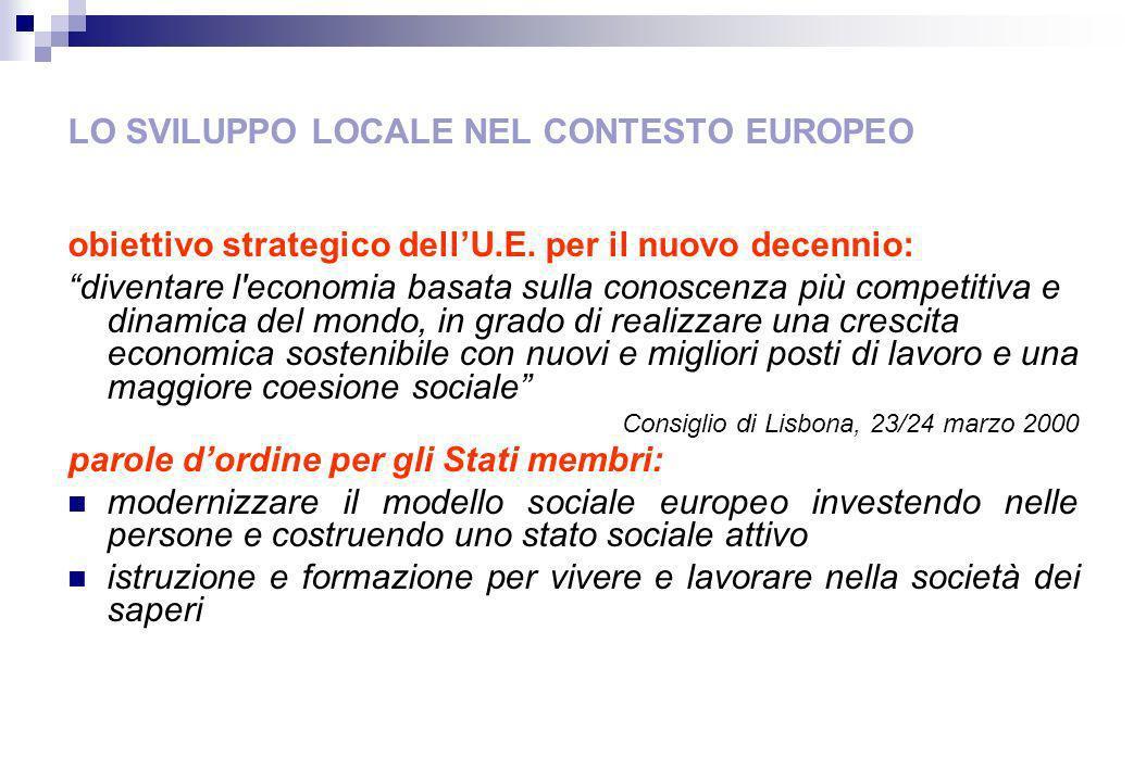 LO SVILUPPO LOCALE NEL CONTESTO EUROPEO obiettivo strategico dellU.E.