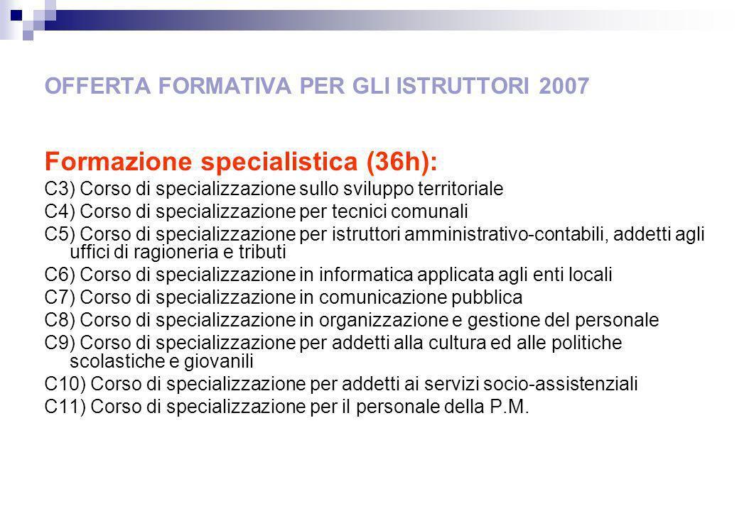 OFFERTA FORMATIVA PER GLI ISTRUTTORI 2007 Formazione specialistica (36h): C3) Corso di specializzazione sullo sviluppo territoriale C4) Corso di speci