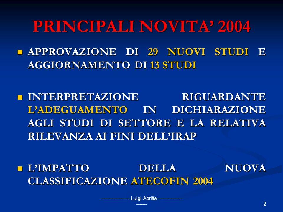 2 --------------------Luigi Abritta----------------- ------- PRINCIPALI NOVITA 2004 APPROVAZIONE DI 29 NUOVI STUDI E AGGIORNAMENTO DI 13 STUDI APPROVA