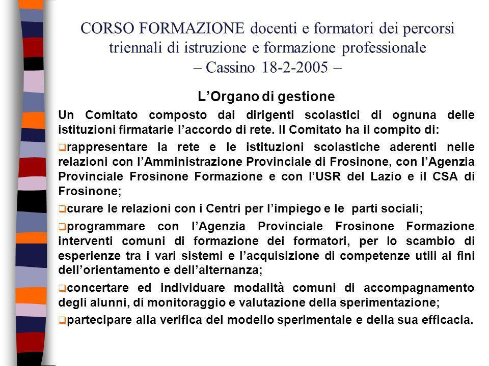 CORSO FORMAZIONE docenti e formatori dei percorsi triennali di istruzione e formazione professionale – Cassino 18-2-2005 – O.M.