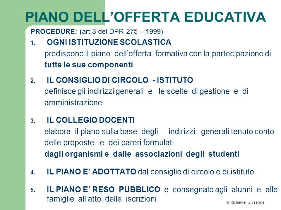 © Richiedei Giuseppe PROCEDURE: (art.3 del DPR 275 – 1999) 1. OGNI ISTITUZIONE SCOLASTICA predispone il piano dellofferta formativa con la partecipazi