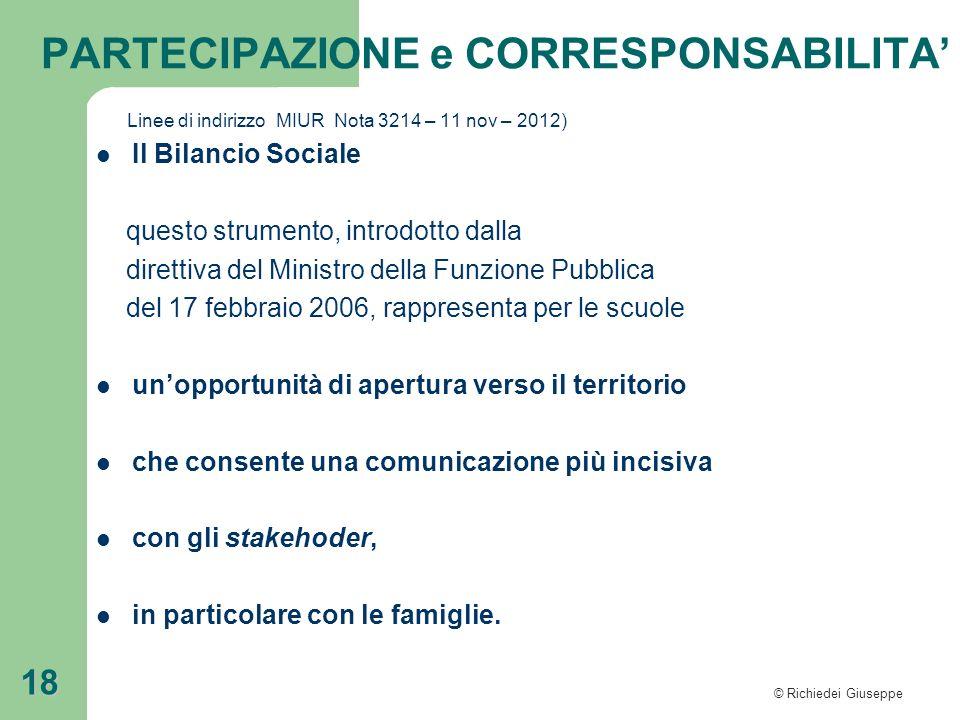 © Richiedei Giuseppe 18 Linee di indirizzo MIUR Nota 3214 – 11 nov – 2012) Il Bilancio Sociale questo strumento, introdotto dalla direttiva del Minist