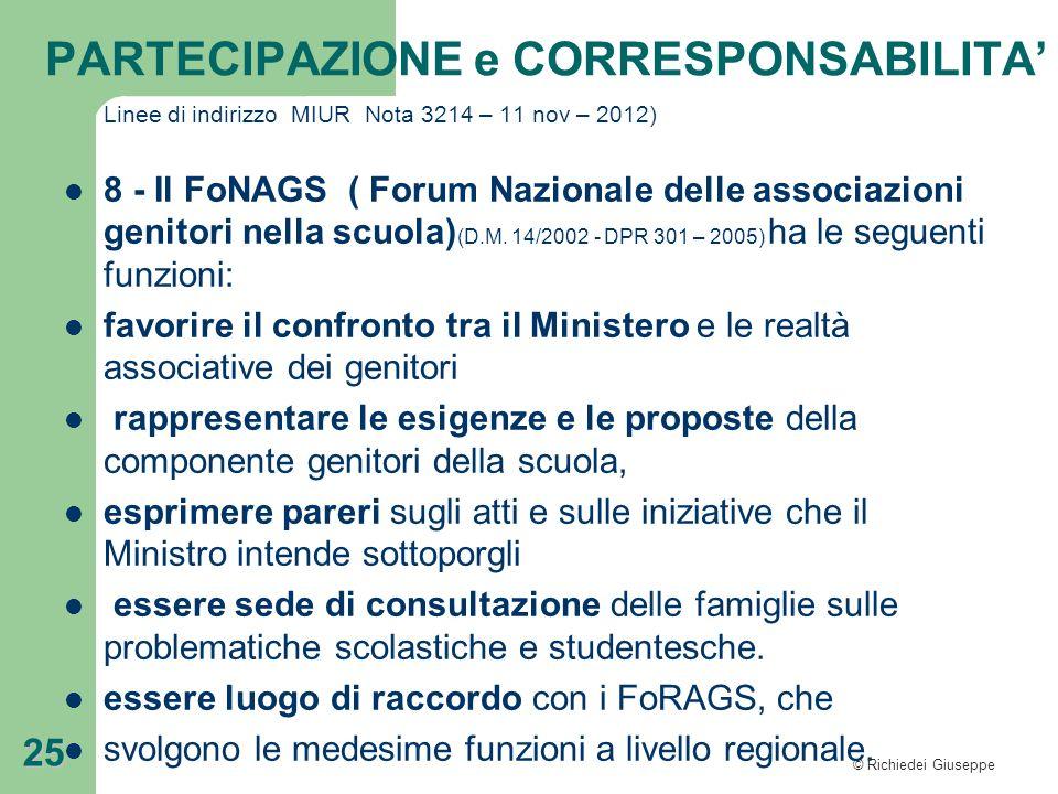 © Richiedei Giuseppe 25 Linee di indirizzo MIUR Nota 3214 – 11 nov – 2012) 8 - Il FoNAGS ( Forum Nazionale delle associazioni genitori nella scuola) (
