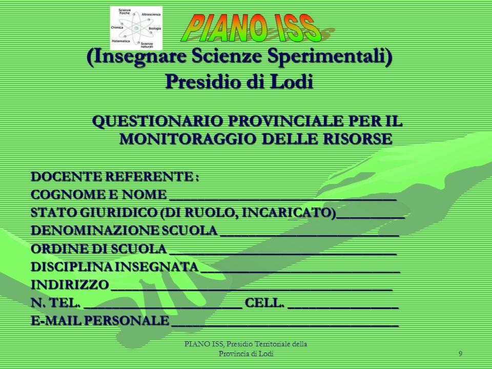 PIANO ISS, Presidio Territoriale della Provincia di Lodi9 (Insegnare Scienze Sperimentali) Presidio di Lodi QUESTIONARIO PROVINCIALE PER IL MONITORAGG