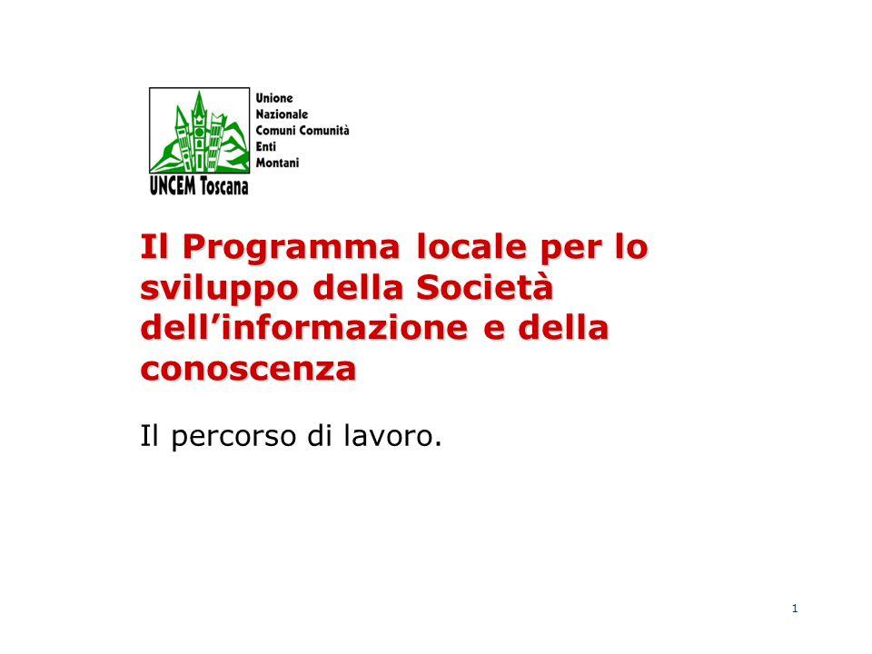 1 Il Programma locale per lo sviluppo della Società dellinformazione e della conoscenza Il percorso di lavoro.