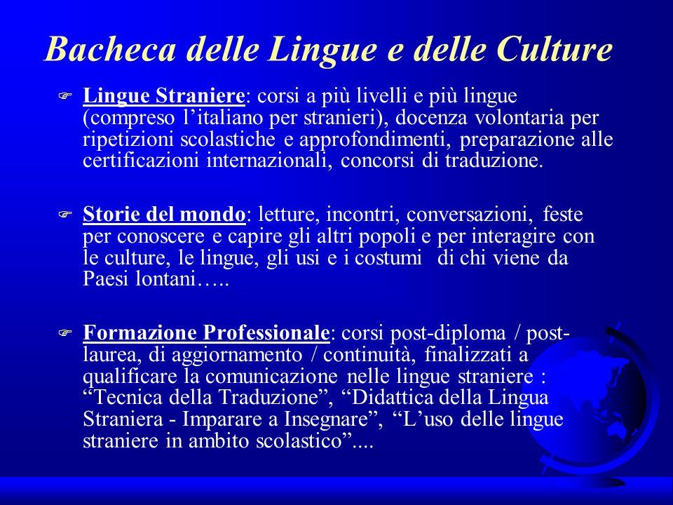Bacheca delle Lingue e delle Culture F Lingue Straniere: corsi a più livelli e più lingue (compreso litaliano per stranieri), docenza volontaria per r