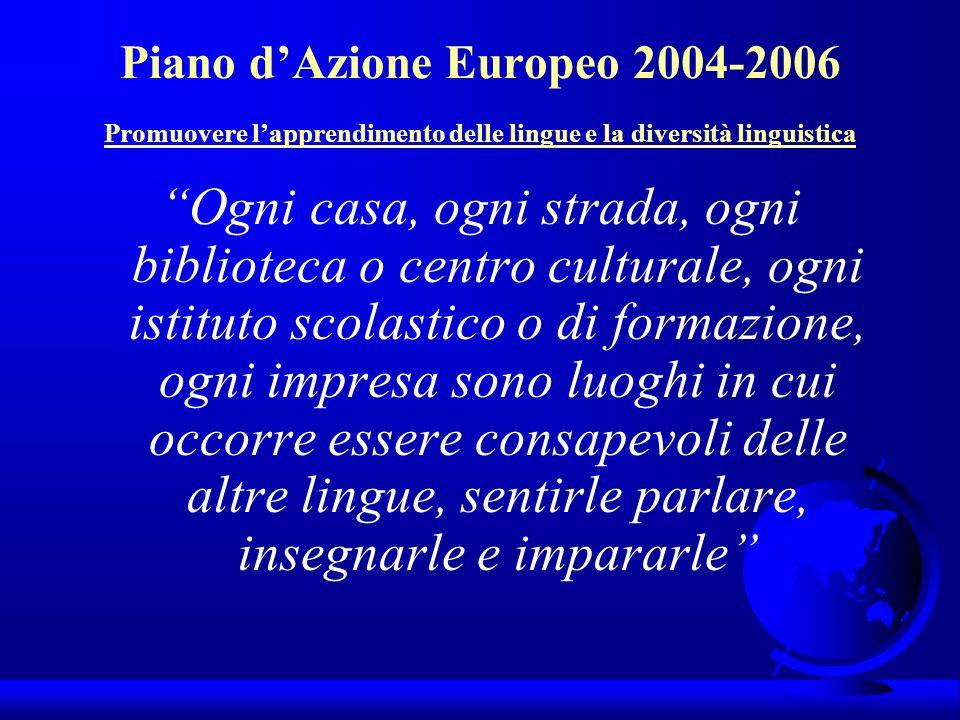 Piano dAzione Europeo 2004-2006 Promuovere lapprendimento delle lingue e la diversità linguistica Ogni casa, ogni strada, ogni biblioteca o centro cul