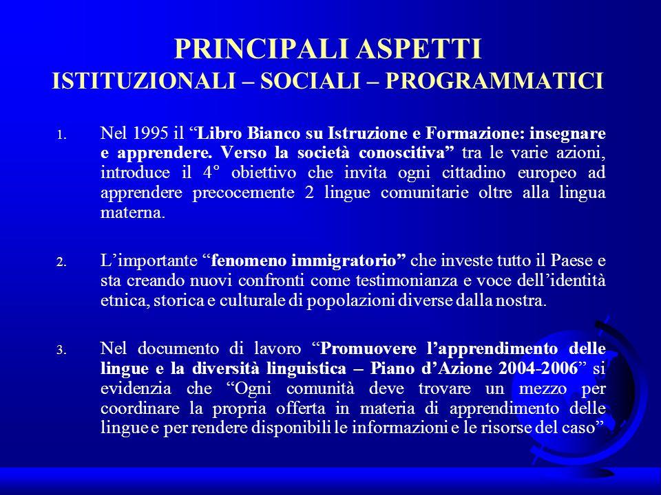 PRINCIPALI ASPETTI ISTITUZIONALI – SOCIALI – PROGRAMMATICI 1. Nel 1995 il Libro Bianco su Istruzione e Formazione: insegnare e apprendere. Verso la so