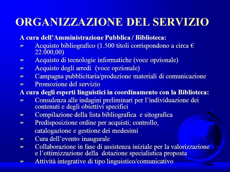 ORGANIZZAZIONE DEL SERVIZIO A cura dellAmministrazione Pubblica / Biblioteca: F Acquisto bibliografico (1.500 titoli corrispondono a circa 22.000,00)