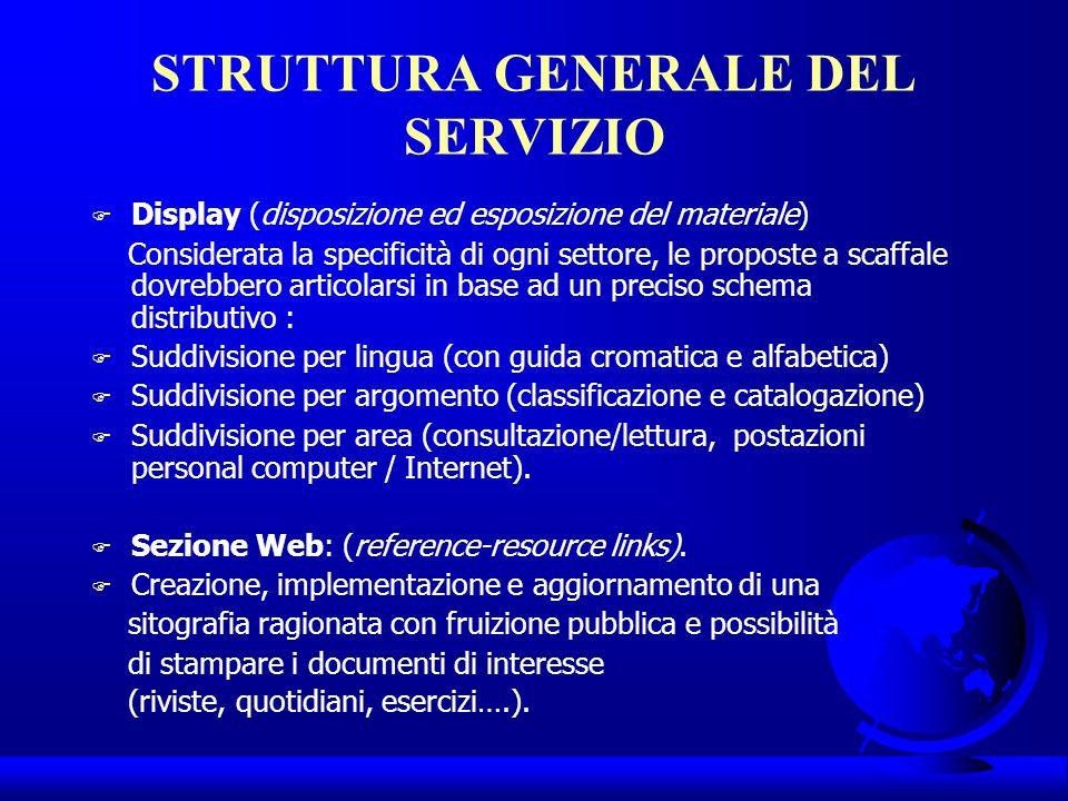 STRUTTURA GENERALE DEL SERVIZIO Display (disposizione ed esposizione del materiale) Considerata la specificità di ogni settore, le proposte a scaffale