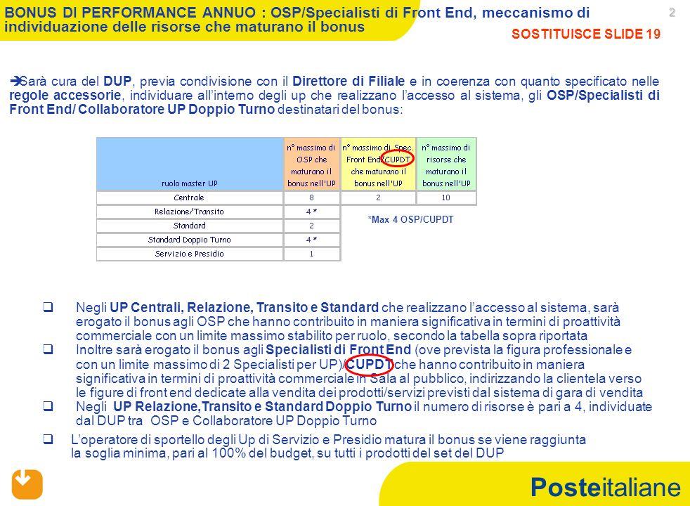 Posteitaliane 2 Negli UP Centrali, Relazione, Transito e Standard che realizzano laccesso al sistema, sarà erogato il bonus agli OSP che hanno contrib