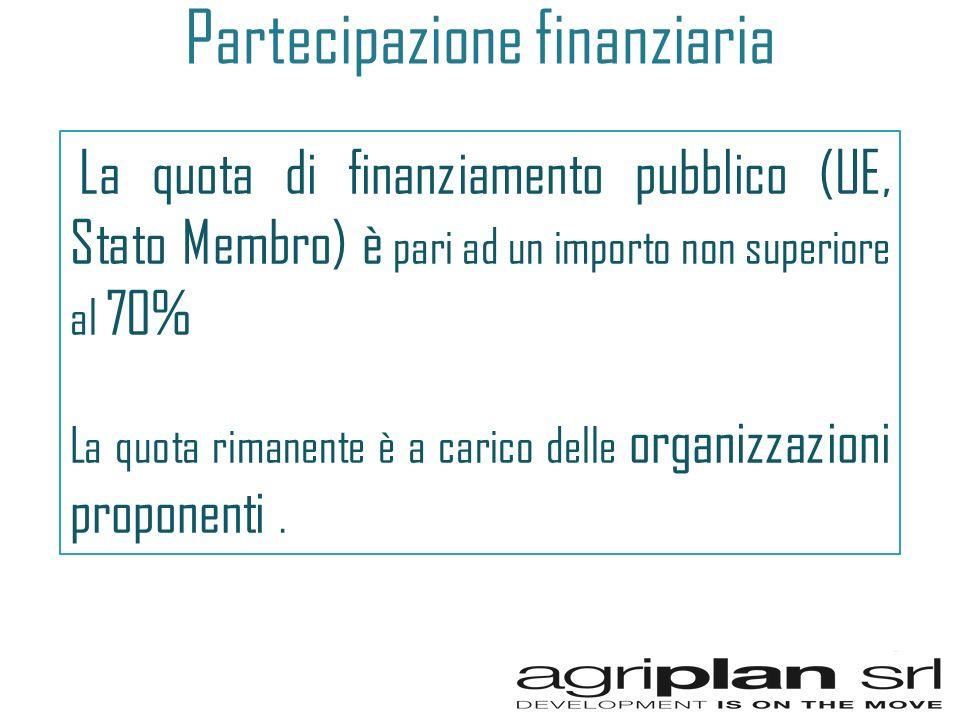 Partecipazione finanziaria La quota di finanziamento pubblico (UE, Stato Membro) è pari ad un importo non superiore al 70% La quota rimanente è a carico delle organizzazioni proponenti.
