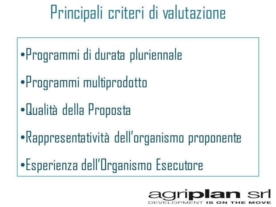 Principali criteri di valutazione Programmi di durata pluriennale Programmi multiprodotto Qualità della Proposta Rappresentatività dellorganismo proponente Esperienza dellOrganismo Esecutore