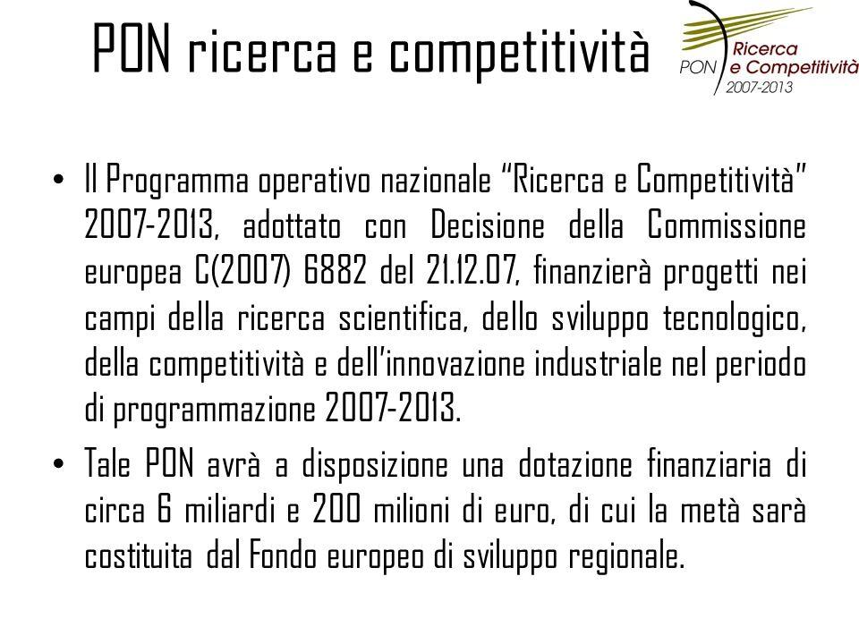 PON ricerca e competitività Il Programma operativo nazionale Ricerca e Competitività 2007-2013, adottato con Decisione della Commissione europea C(2007) 6882 del 21.12.07, finanzierà progetti nei campi della ricerca scientifica, dello sviluppo tecnologico, della competitività e dellinnovazione industriale nel periodo di programmazione 2007-2013.