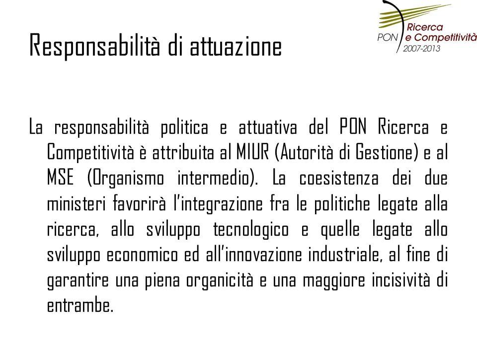 Responsabilità di attuazione La responsabilità politica e attuativa del PON Ricerca e Competitività è attribuita al MIUR (Autorità di Gestione) e al MSE (Organismo intermedio).