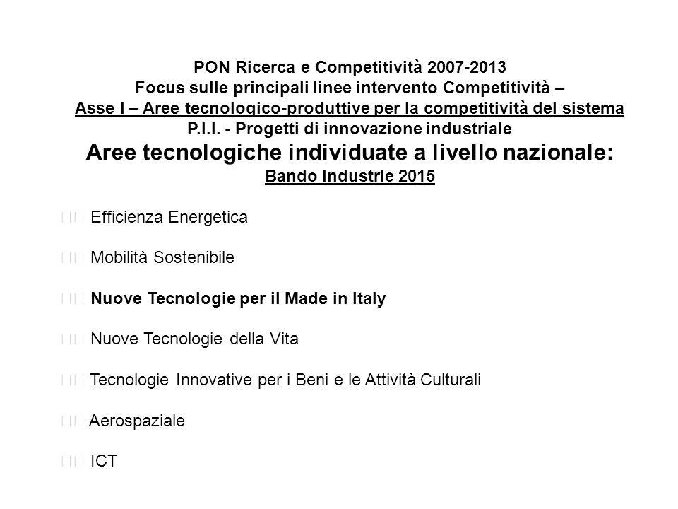 PON Ricerca e Competitività 2007-2013 Focus sulle principali linee intervento Competitività – Asse I – Aree tecnologico-produttive per la competitività del sistema P.I.I.