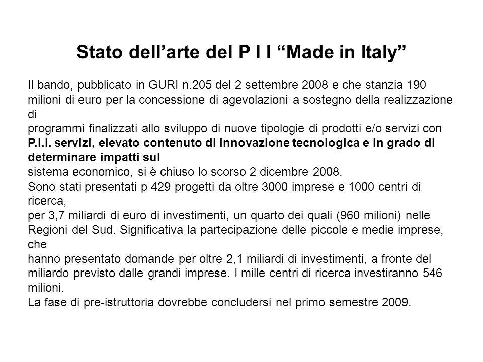 Stato dellarte del P I I Made in Italy Il bando, pubblicato in GURI n.205 del 2 settembre 2008 e che stanzia 190 milioni di euro per la concessione di agevolazioni a sostegno della realizzazione di programmi finalizzati allo sviluppo di nuove tipologie di prodotti e/o servizi con P.I.I.