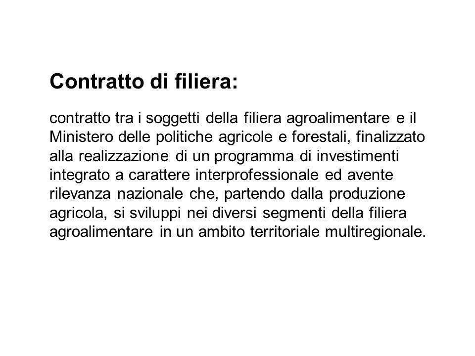 Contratto di filiera: contratto tra i soggetti della filiera agroalimentare e il Ministero delle politiche agricole e forestali, finalizzato alla real