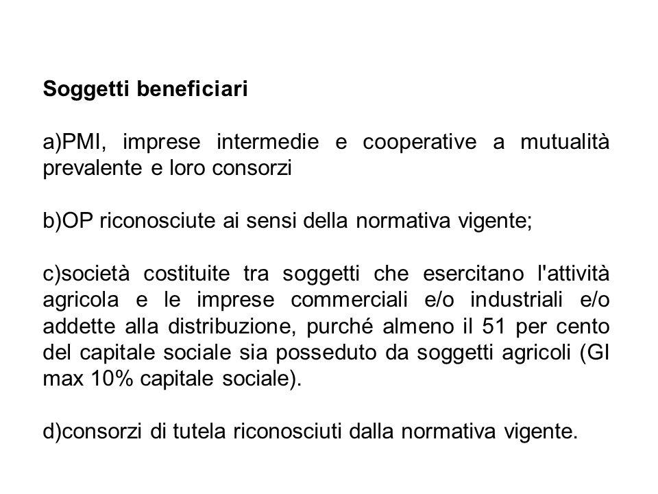 Soggetti beneficiari a)PMI, imprese intermedie e cooperative a mutualità prevalente e loro consorzi b)OP riconosciute ai sensi della normativa vigente