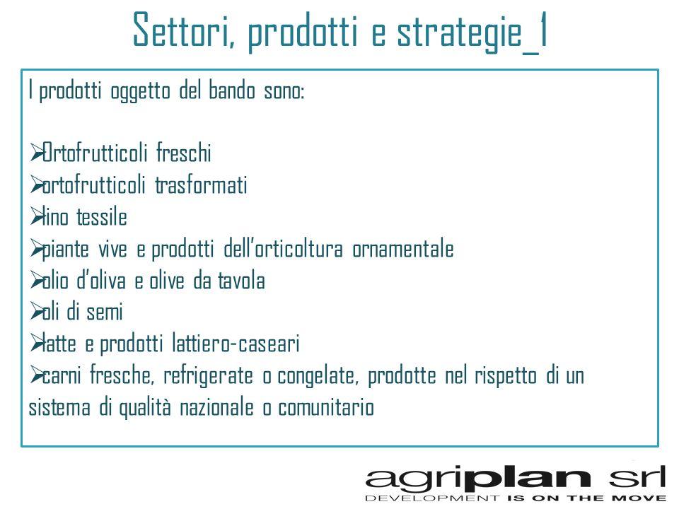 Settori, prodotti e strategie_1 I prodotti oggetto del bando sono: Ortofrutticoli freschi ortofrutticoli trasformati lino tessile piante vive e prodot
