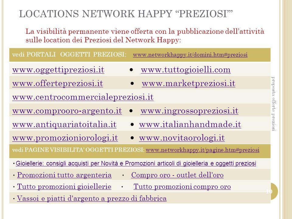 LOCATIONS NETWORK HAPPY PREZIOSI La visibilità permanente viene offerta con la pubblicazione dellattività sulle location dei Preziosi del Network Happ
