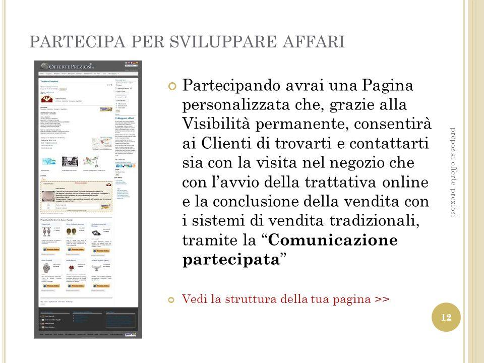 PARTECIPA PER SVILUPPARE AFFARI Partecipando avrai una Pagina personalizzata che, grazie alla Visibilità permanente, consentirà ai Clienti di trovarti