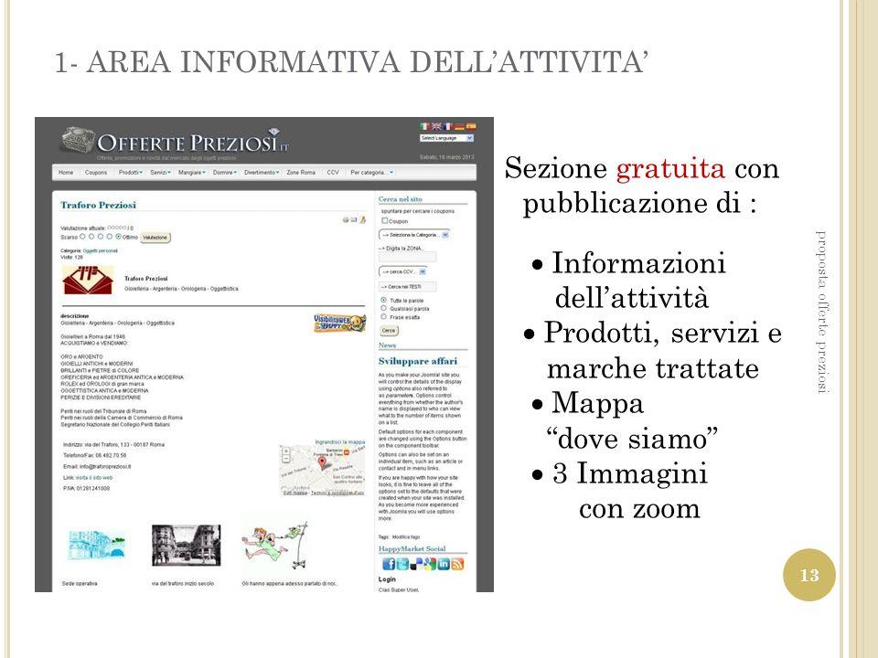 1- AREA INFORMATIVA DELLATTIVITA 13 proposta offerte preziosi Sezione gratuita con pubblicazione di : Informazioni dellattività Prodotti, servizi e ma