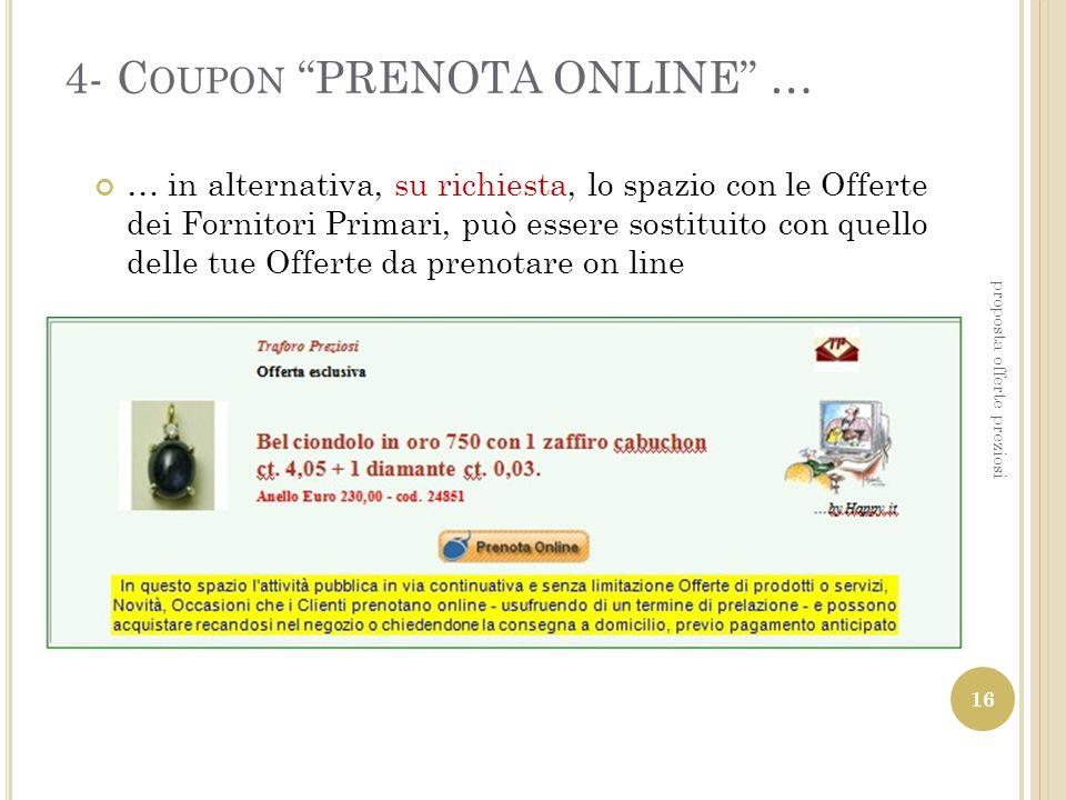 4- C OUPON PRENOTA ONLINE … … in alternativa, su richiesta, lo spazio con le Offerte dei Fornitori Primari, può essere sostituito con quello delle tue