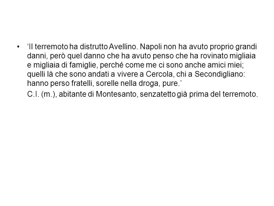 Il terremoto ha distrutto Avellino. Napoli non ha avuto proprio grandi danni, però quel danno che ha avuto penso che ha rovinato migliaia e migliaia d
