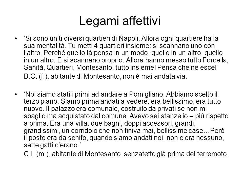 Legami affettivi Si sono uniti diversi quartieri di Napoli. Allora ogni quartiere ha la sua mentalità. Tu metti 4 quartieri insieme: si scannano uno c