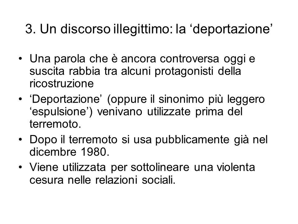 3. Un discorso illegittimo: la deportazione Una parola che è ancora controversa oggi e suscita rabbia tra alcuni protagonisti della ricostruzione Depo