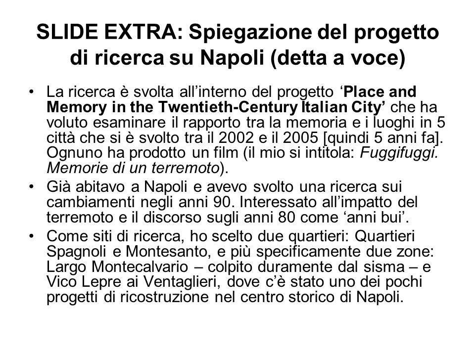 SLIDE EXTRA: Spiegazione del progetto di ricerca su Napoli (detta a voce) La ricerca è svolta allinterno del progetto Place and Memory in the Twentiet