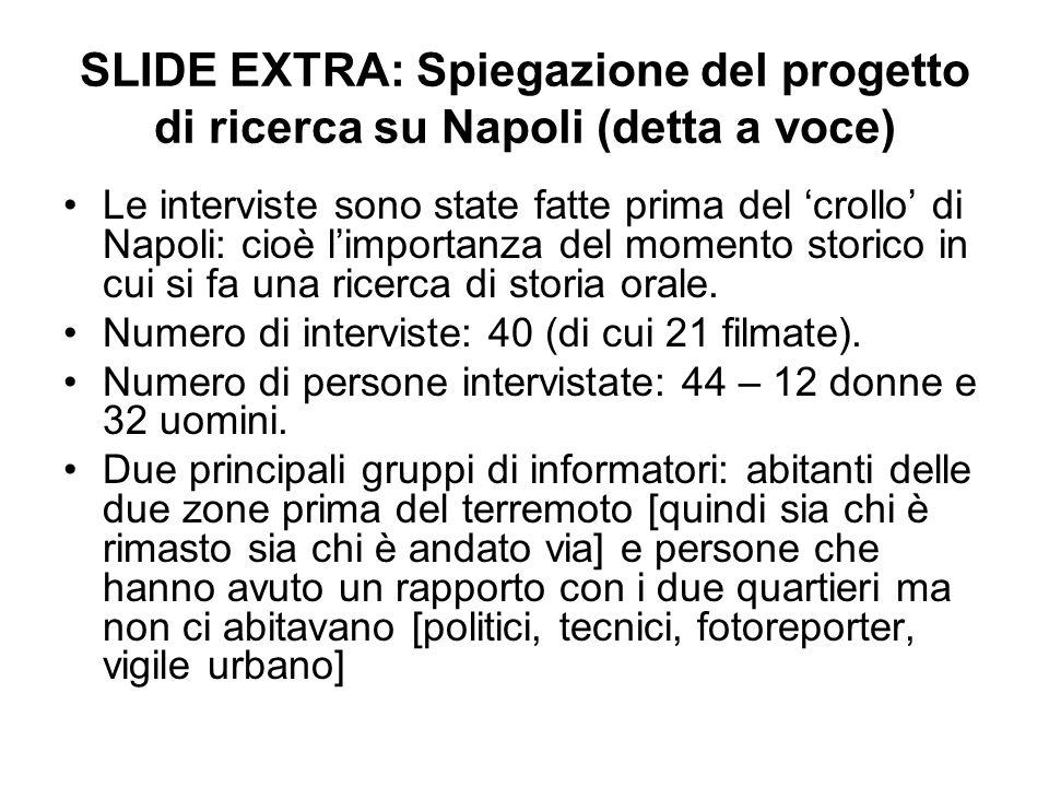 SLIDE EXTRA: Spiegazione del progetto di ricerca su Napoli (detta a voce) Le interviste sono state fatte prima del crollo di Napoli: cioè limportanza