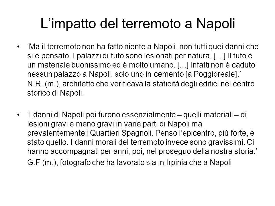 Limpatto del terremoto a Napoli Ma il terremoto non ha fatto niente a Napoli, non tutti quei danni che si è pensato. I palazzi di tufo sono lesionati