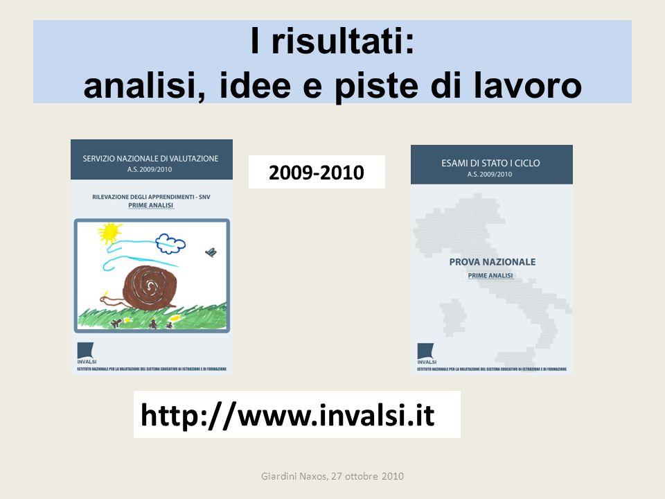 I risultati: analisi, idee e piste di lavoro http://www.invalsi.it 2009-2010 Giardini Naxos, 27 ottobre 2010