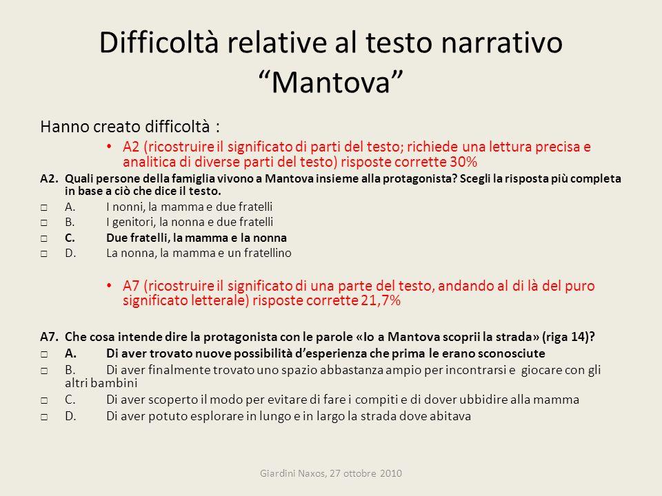 Difficoltà relative al testo narrativo Mantova Hanno creato difficoltà : A2 (ricostruire il significato di parti del testo; richiede una lettura preci