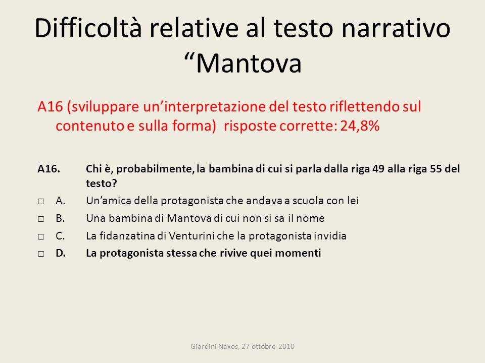 Difficoltà relative al testo narrativo Mantova A16 (sviluppare uninterpretazione del testo riflettendo sul contenuto e sulla forma) risposte corrette: